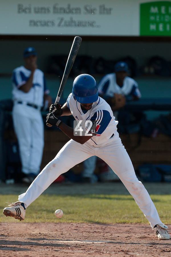 31 July 2010: Felix Brown of Team France is seen at bat during the Greece 14-5 win over France, at the 2010 European Championship, in Heidenheim, Germany.