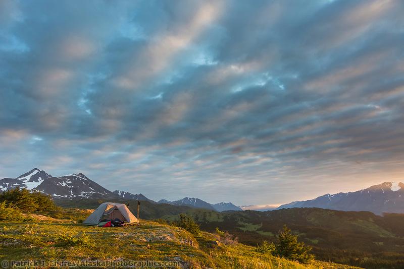 Tent camp near the Lost Lake Trail, Chugach National Forest, Seward, Alaska.
