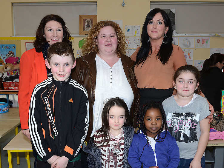 Frances Murray, June Barnett, Teresa, Sophia and Yasmin O'Brien and Moji William pictured at Donore National school fundraiser in aid of the new school extention. Photo:Colin Bell/pressphotos.ie