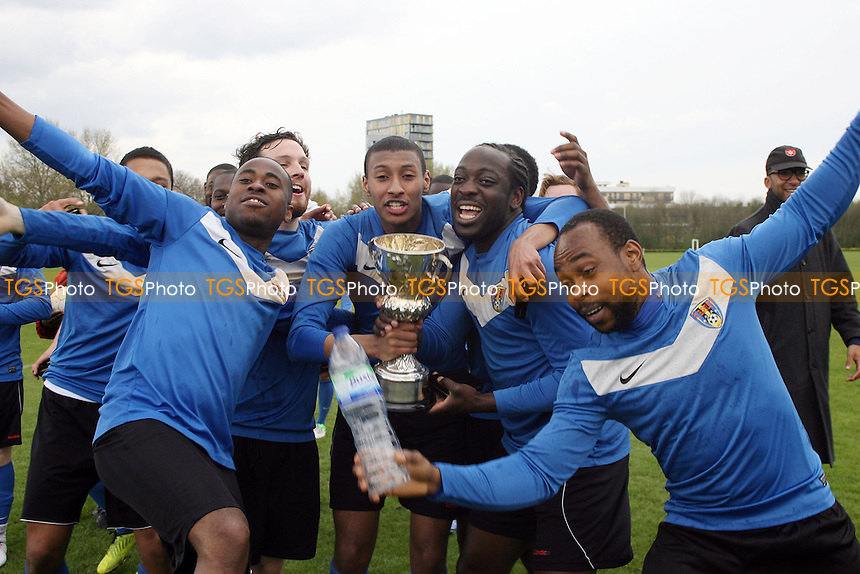 FC Bartlett (sky blue shirts) vs Hackney Borough (royal blue shirts) - Albert Daniels Cup Final at Hackney Marshes 28/04/13 - MANDATORY CREDIT: Dave Simpson/TGSPHOTO - Self billing applies where appropriate - 0845 094 6026 - contact@tgsphoto.co.uk - NO UNPAID USE