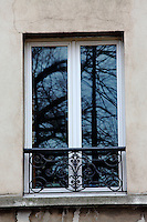 In Paris near Montparnasse, a closed window with its typical railing, that reflects the bare trees of the garden in front of it and the bottom part of a street lamp. Digitally Improved Photo.