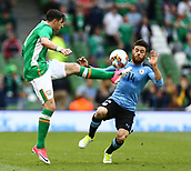 June 4th 2017, Aviva Stadium, Dublin, Ireland; International Friendly, Ireland versus Uruguay;  Stephen Ward of Ireland in action against Nahitan Nandez of Uruguay