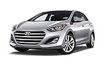 Stock pictures of low aggressive front three quarter view of 2017 Hyundai Elantra Gt 5 Door Hatchback