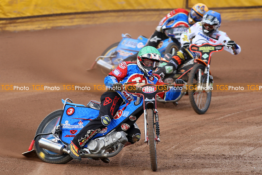 Heat 3: Adam Shields (green) ahead of Steve Johnston (blue) and Jonas Davidsson - Ipswich Witches vs Lakeside Hammers - Craven Shield Speedway at Foxhall Stadium, Ipswich - 21/03/08 - MANDATORY CREDIT: Gavin Ellis/TGSPHOTO - Self billing applies where appropriate - Tel: 0845 094 6026