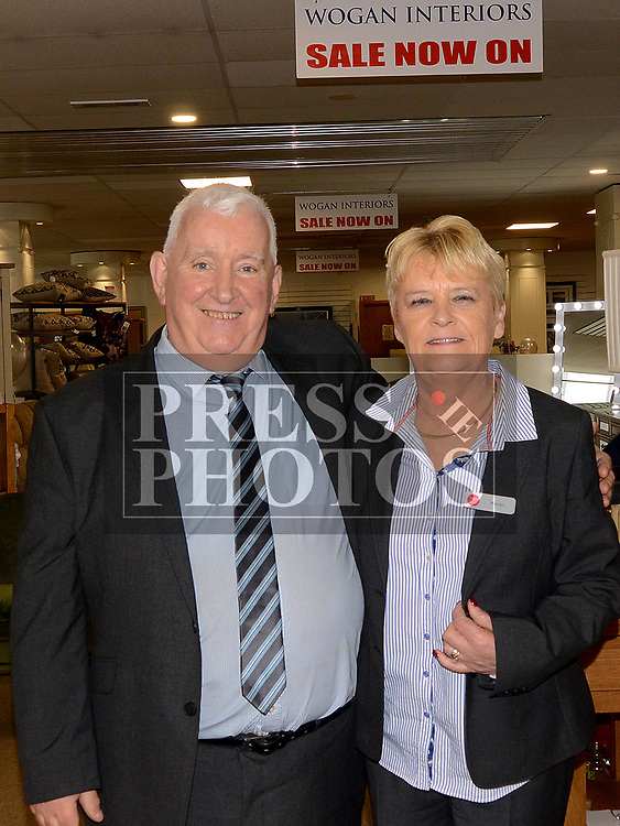 Staff members Brian Lynch and Marian Hill at the 40th Anniversary celebrations in Wogans. Photo:Colin Bell/pressphotos.ie