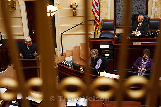 Trent Nelson  |  The Salt Lake Tribune.Congressman Rob Bishop addressed the Senate at the Utah state capitol building Tuesday, February 1, 2011. Senate President Michael Waddoups at right.