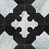 Coronel Grande, a stone waterjet mosaic, shown in venetian honed Orpheus Black and Cirrus.
