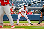26 February 2019: Washington Nationals infielder Luis Garcia takes a lead off first during a Spring Training game against the St. Louis Cardinals at the Ballpark of the Palm Beaches in West Palm Beach, Florida. The Nationals fell to the visiting Cardinals 6-1 in Grapefruit League play. Mandatory Credit: Ed Wolfstein Photo *** RAW (NEF) Image File Available ***