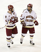 Mike Brennan (BC - 4), Tim Kunes (BC - 6) - The Boston College Eagles defeated the visiting Northeastern University Huskies 7-1 on Friday, March 9, 2007, to win their Hockey East quarterfinals matchup in two games at Conte Forum in Chestnut Hill, Massachusetts.