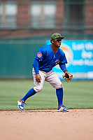 Iowa Cubs shortstop Ozzie Martinez (28) during a game against the Memphis Redbirds on May 29, 2017 at AutoZone Park in Memphis, Tennessee.  Memphis defeated Iowa 6-5.  (Mike Janes/Four Seam Images)