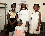 WATERBURY, CT-060317JS05- Little Hostesses,  Elise Taylor, 10; Jiahne James, 3; Saryana Jones, 9 and Alexa Kinino, 8, at the annual Greater Waterbury Chapter of the National Congress of Black Women, Inc.'s Hat and Tea Scholarship Luncheon Saturday at the Mt. Olive A.M.E. Zion Church in Waterbury.  <br /> Jim Shannon Republican-American