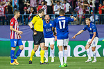Jonas Eriksson give penaltie  Atletico de Madrid during the match of  Champions LEague between  Atletico de Madrid and LEicester City Football Club at Vicente Calderon  Stadium  in Madrid, Spain. April 12, 2017. (ALTERPHOTOS / Rodrigo Jimenez)