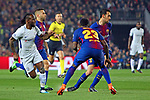 UEFA Champions League 2017/2018.<br /> Round of 16 2nd leg.<br /> FC Barcelona vs Chelsea FC: 3-0.<br /> Victor Moses, Samuel Umtiti &amp; Sergio Busquets.