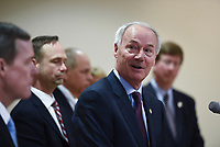 Gov. Asa Hutchinson speaks, Monday, March 16, 2020 during a press conference at the Pat Walker Center for Seniors in Fayetteville. Check out nwaonline.com/200317Daily/ for today's photo gallery.<br /> (NWA Democrat-Gazette/Charlie Kaijo)<br /> <br /> Gov. Asa Hutchinson, Dr. Nathaniel Smith, Secretary of the Arkansas Department of Health and other officials provided an update regarding Arkansas's coronavirus response.