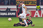 08.11.2018, BayArena, Leverkusen, GER, Europa League, Bayer 04 Leverkusen vs FC Z&uuml;rich, DFL regulations prohibit any use of photographs as image sequences and/or quasi-video <br /> <br /> im Bild v. li. im Zweikampf Toni Domgjoni (#14, FC Z&uuml;rich / Zuerich) Dominik Kohr (#21, Bayer 04 Leverkusen) <br /> <br /> Foto &copy; nordphoto/Mauelshagen