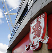 30th September 2017, Riverside Stadium, Middlesbrough, England; EFL Championship football, Middlesbrough versus Brentford; General view of the Riverside Stadium with the Middlesbrough crest