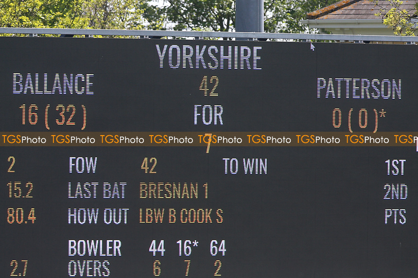 The scoreboard shows that Yorkshire have been reduced to 42 for 7 during Essex CCC vs Yorkshire CCC, Specsavers County Championship Division 1 Cricket at The Cloudfm County Ground on 4th May 2018