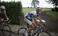 a blooded Jelle Wallays (BEL/Topsport Vlaanderen-Baloise) now has a napkin moustache<br /> <br /> stage 3: Buchten-Buchten (190km)<br /> 29th Ster ZLM Tour 2015