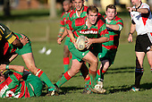 D. Olsen makes a run from a ruck. Counties Manukau Premier Club Rugby, Pukekohe v Waiuku  played at the Colin Lawrie field, on the 3rd of 2006.Pukekohe won 36 - 14