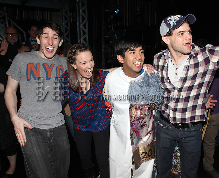 Ben Fankhauser, Kara Lindsay, Aaron J. Albano & Jeremy Jordan.attending the Actors' Equity Broadway Opening Night Gypsy Robe Ceremony for Aaron J. Albano in.'Newsies - The Musical' at the Nederlander Theatre in NewYork City on 3/29/2012