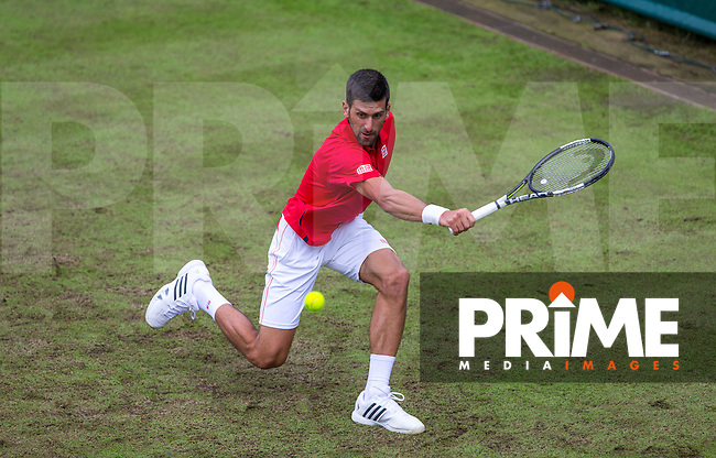Novak Djokovic in action during the The Boodles DAY TWO match between NOVAK DJOKOVIC and David Goffin at Stoke Park, Slough, England on 22 June 2016. Photo by Andy Rowland.