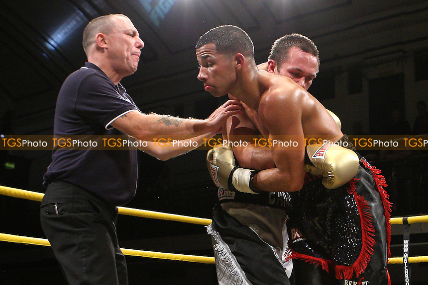Rhys Roberts defeats Ian Bailey in Quarter-Final 3 of Prizefighter Featherweights Boxing at York Hall, Bethnal Green promoted by Matchroom Sports - 29/10/11 - MANDATORY CREDIT: Gavin Ellis/TGSPHOTO - Self billing applies where appropriate - 0845 094 6026 - contact@tgsphoto.co.uk - NO UNPAID USE..
