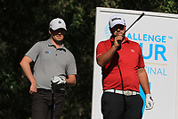 Cormac Sharvin (NIR) and Jack Senior (ENG) on the 7th tee during Round 1 of the Challenge Tour Grand Final 2019 at Club de Golf Alcanada, Port d'Alcúdia, Mallorca, Spain on Thursday 7th November 2019.<br /> Picture:  Thos Caffrey / Golffile<br /> <br /> All photo usage must carry mandatory copyright credit (© Golffile | Thos Caffrey)