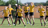 Houston, TX - Friday Oct. 07, 2016: Kristen Hamilton, Lynn Williams, Elizabeth Eddy during training prior to the National Women's Soccer League (NWSL) Championship match between the Washington Spirit and the Western New York Flash at BBVA Compass Stadium.