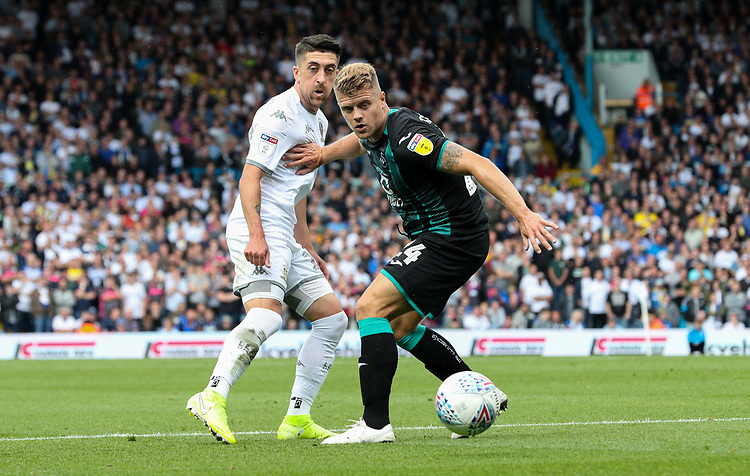 Leeds United's Pablo Hernandez takes on Swansea City's Jake Bidwell<br /> <br /> Photographer Alex Dodd/CameraSport<br /> <br /> The EFL Sky Bet Championship - Leeds United v Swansea City - Saturday 31st August 2019 - Elland Road - Leeds<br /> <br /> World Copyright © 2019 CameraSport. All rights reserved. 43 Linden Ave. Countesthorpe. Leicester. England. LE8 5PG - Tel: +44 (0) 116 277 4147 - admin@camerasport.com - www.camerasport.com