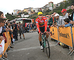 Race leader Primoz Roglic (SLO) Team Jumbo-Visma arrives at sign on before Stage 15 of La Vuelta 2019  running 154.4km from Tineo to Santuario del Acebo, Spain. 8th September 2019.<br /> Picture: Karlis | Cyclefile<br /> <br /> All photos usage must carry mandatory copyright credit (© Cyclefile | Karlis/Photogomezsport)