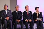 (L-R)  JPCYasushi Yamawaki,  JOCTsunekazu Takeda, Toshiro Muto,  Yuriko Koike, <br /> SEPTEMBER 21, 2016 : <br /> Olympic and Paralympic flags raising ceremony <br /> in Tokyo, Japan.  <br /> (Photo by Yohei Osada/AFLO SPORT)