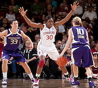 STANFORD, CA - February 12, 2011: Nnemkadi Ogwumike of the Stanford Cardinal women's basketball team guards during Stanford's 62-52 win over Washington at Maples Pavilion.