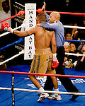 FEBRUARY 24 2006 The left eye of Fernando Vargas swells up and the fight was called in the 10th round because of swelling in the left eye of Vargas as Mosley was given the 10th round TKO victory of the junior middleweight fight at the Mandalay Bay Events Center on February 25, 2006 in Las Vegas, Nevada.