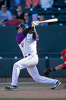Nick Basto (12) of the Winston-Salem Dash follows through on his swing against the Salem Red Sox at BB&T Ballpark on April 20, 2014 in Winston-Salem, North Carolina.  The Dash defeated the Red Sox 10-8.  (Brian Westerholt/Four Seam Images)