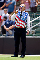 Joey Ketchie sings the National Anthem prior to the start of the South Atlantic League game between the Hagerstown Suns and the Kannapolis Intimidators at Fieldcrest Cannon Stadium on May 30, 2011 in Kannapolis, North Carolina.   Photo by Brian Westerholt / Four Seam Images