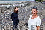 Linda Fitzgerald and Carol Benner enjoying a stroll on the beach in Spa on Monday.
