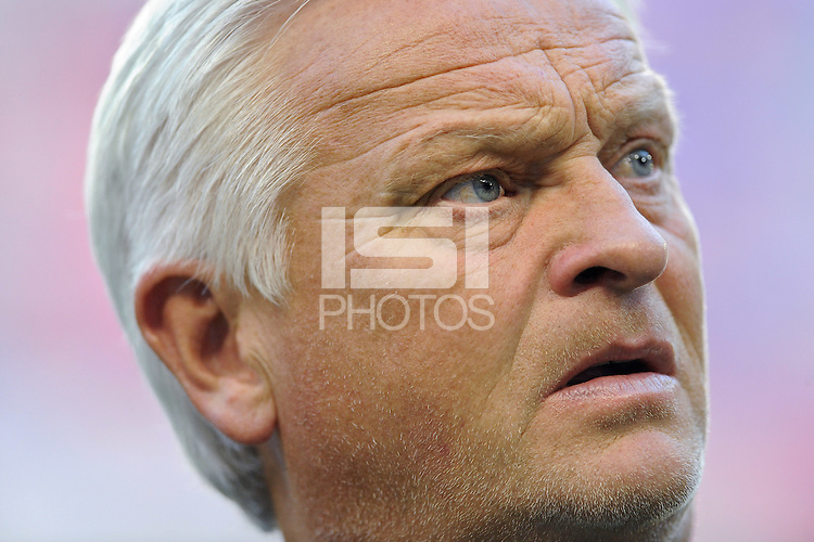 New York Red Bulls head coach Hans Backe prior to the start of a friendly between Santos FC and the New York Red Bulls at Red Bull Arena in Harrison, NJ, on March 20, 2010. The Red Bulls defeated Santos FC 3-1.