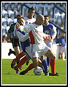14/9/02       Copyright Pic : James Stewart                     .File Name : stewart-qots v inverness 01.STUART GOLABEK BLOCKS STEVEN BOWEY....James Stewart Photo Agency, 19 Carronlea Drive, Falkirk. FK2 8DN      Vat Reg No. 607 6932 25.Office : +44 (0)1324 570906     .Mobile : + 44 (0)7721 416997.Fax     :  +44 (0)1324 570906.E-mail : jim@jspa.co.uk.If you require further information then contact Jim Stewart on any of the numbers above.........