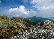 Hiking on Clay Loop Trail (Mount Clay) in the scenic landscape of the Northern Presidential Range in the White Mountain National Forest, New Hampshire USA on a cloudy day.