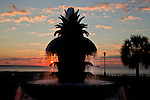The Pineapple Fountain at sunrise, in Charleston SC