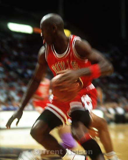 Michael Jordan at Jazz vs. Bulls.<br />
