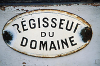 Europe/France/Pays de la Loire/49/Maine-et-Loire/Brissac: Le Château - Détail plaque du bureau du régisseur