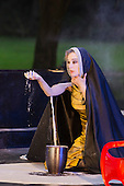"11 July 2014, Muelheim/Ruhr, Germany. Simone Thoma as Antigone. Roberto Ciulli's ""Theater an der Ruhr"" perform ""Antigone"" as part of their open-air season ""Weisse Naechte"" (White Nights) in Raffelbergpark, Muelheim an der Ruhr, Germany."