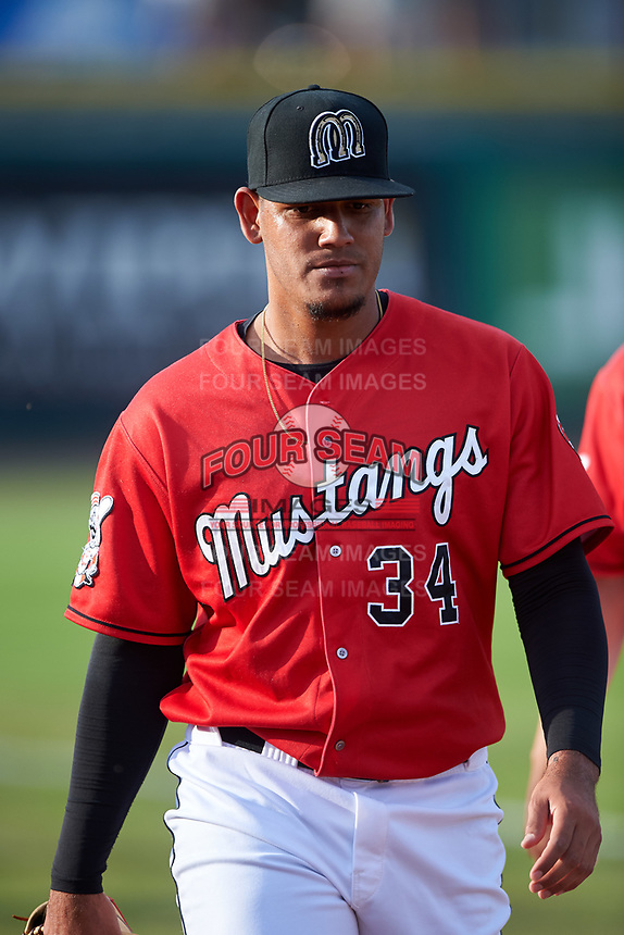 Billings Mustangs starting pitcher Carlos Carreno (34) walks toward the dugout before a Pioneer League game against the Grand Junction Rockies at Dehler Park on August 14, 2019 in Billings, Montana. Grand Junction defeated Billings 8-5. (Zachary Lucy/Four Seam Images)