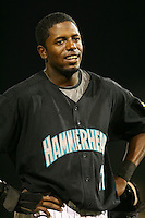 April 13, 2009:  Outfielder Gregory (Greg) Burns of the Jupiter Hammerheads, Florida State League Class-A affiliate of the Florida Marlins, during a game at Roger Dean Stadium in Jupiter, FL.  Photo by:  Mike Janes/Four Seam Images