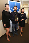 Kate Schindle and Christine Toy Johnson present Lin-Manuel Miranda the 2018 Rosetta LeNoire Award at Actors' Equity Office on April 23, 2018 in New York City.