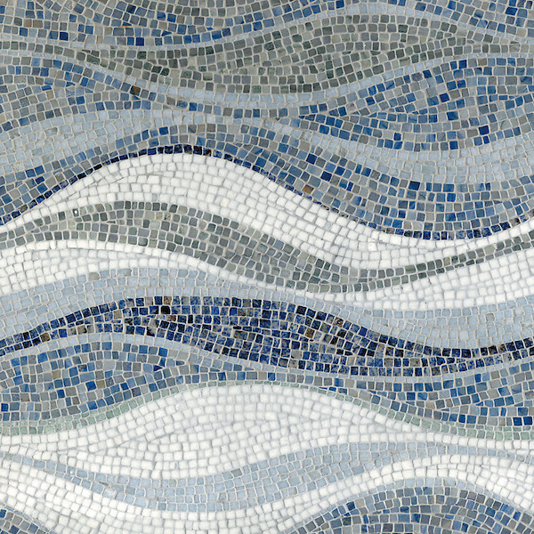 Mirage,a hand-cut stone mosaic, shown in tumbled Kay's Green, Celeste, Thassos, Blue Macauba, Blue Bahia, Ming Green.