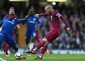 30th September 2017, Stamford Bridge, London, England; EPL Premier League football, Chelsea versus Manchester City; David Silva of Manchester City taking a shot for goal in the first half