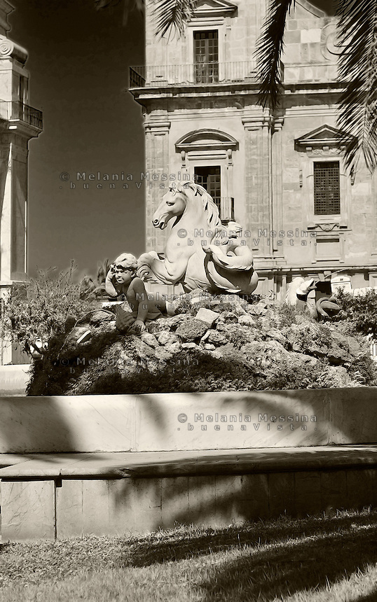Palermo; fountain in the historic city center, work of art by Marabitti, 18th century.