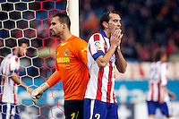 Diego Godin of Atletico de Madrid and Sergio Asenjo of Villarreal during La Liga match between Atletico de Madrid and Villarreal at Vicente Calderon stadium in Madrid, Spain. December 14, 2014. (ALTERPHOTOS/Caro Marin) /NortePhoto